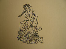 Beau DESSIN Ancien Étude Léda et le Cygne Scène Antique Pompéi ART DÉCO 1940 #3