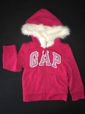 NWT BABY GAP HOLIDAY LINE ARCH LOGO HOODIE FUR  SHERPA LINING 4T I WANT CANDY