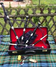 Scottish Great Highland Bagpipes Rosewood Natural Full Silver Mounts + Hard case