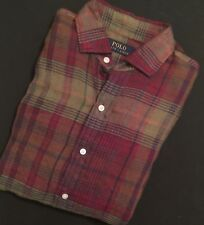 Polo Ralph Lauren Men's Plaid Linen Classic Sport Shirt Olive Purple Button S