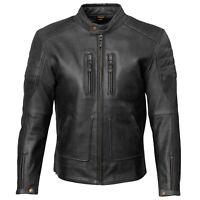 Merlin Draycott Leather Jacket Black Retro Motorcycle Jacket New
