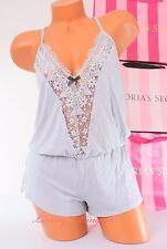 S Small VS Victoria's Secret Modal Crochet Lace Teddy Flattering Romper Gray NWT