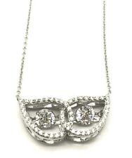 Sterling Silver Dancing  Round CZ - Halo Pave Elegant Pear Wing Collar Necklace