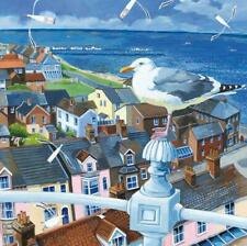 Rooftops -  Art Blank Greeting / Birthday Card - Sea Gull Birds Seaside Beach