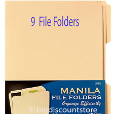 "9/PK Manila File Folders Letter Size Three Tab Positions 11-5/8"" x 9-1/2"" Folder"