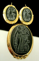 "Vintage Signed JB Goldtone Cameo 2"" Brooch Pin & 1-1/2"" Pierced Earring Set A75"