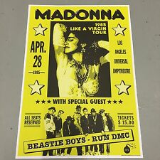 MADONNA + BEASTIE BOYS + RUN DMC - CONCERT POSTER LOS ANGELES 28th APRIL 1985