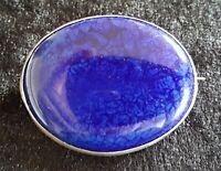 Ruskin blue ceramic & sterling silver vintage Art Deco oval brooch
