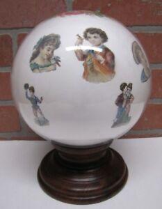 Antique Victorian Potichomania Gazing Blown Glass Ball Wooden Stand Girls Boys
