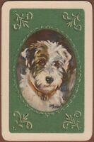 Playing Cards 1 Single Card Old Vintage TERRIER DOG Art Painting LUCY DAWSON