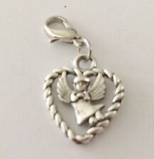 ANGEL INSIDE A HEART - 3D - CLIP ON CHARM FOR BRACELETS - TIBETIAN SILVER - NEW