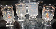 Set of 4 Square Pedestal Barware Bar Rocks Tumblers Glasses Christmas Cartoon