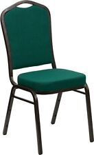 Banquet Chair Green Fabric Restaurant Chair Crown Back Stacking Chair