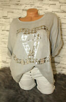 Italy New Collection T-Shirt Oversized grau Gr. 36 38 40 42 blogger CC Leinen