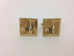 Vtg Golden Bowler Bowling Ball Pin Cuff Links