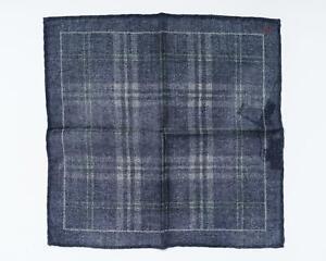 "Isaia NWT Indigo Blue Beige Check Pocket Square 100% Virgin Wool 13"" 33 cm"