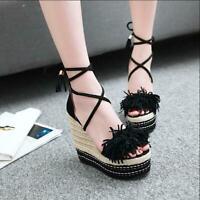 Womens Fringe Wedge High Heels Platform Peep Toe Braided Lace Up Sandals US SIZE