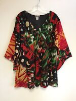 Women's Printed Embellished Polyester Plus Size Tunic Top Blouse 1X & 3X NWT