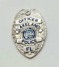 Police Officer Lakeland Police State of Florida Silver Badge Lapel Pin NEW!