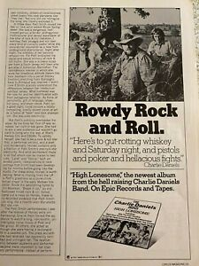 Charlie Daniels Band, High Lonesome, Vintage Promotional Ad