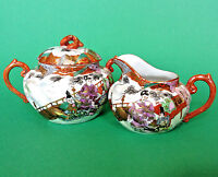 Hand Painted Sugar And Creamer - Samurai - Ornate Red Handles - Japan Nippon