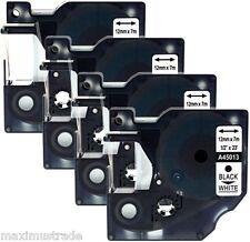4x Schriftbandkassette kompatibel zu Dymo D1 45013 12mm schwarz auf weiß