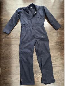 Vintage Key Imperial Farm Mechanic One Piece Suit Mens Large T Black Coveralls