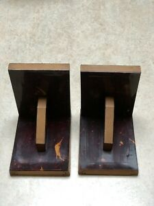 1970s Vintage Bookends Pair Wooden Plastic Faced Flame Effect French Old Retro