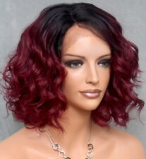 Short Burgundy w. Dark Roots Wig Perfect Curly Full Lace Front KRN 1B-Burg NWT