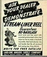 1948 Print Ad Stream-Liner Fishing Reels Lake-Line Anglers Chicago,IL