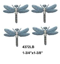 #4372LB Lot 4Pcs BlueSilver Dragonfly Embroidery Iron On Applique Patch
