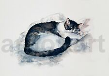 Peaceful Slumber CAT  Art Print SIGNED  A Borcuk PAINTING