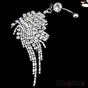Long Crystal Tassel Dangle Fancy Gem Belly Navel Body Piercing Jewelry ring Bar