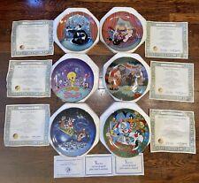 Franklin Mint Heirloom Looney Tunes Collectors Plates Lot Of 6 W/Coa