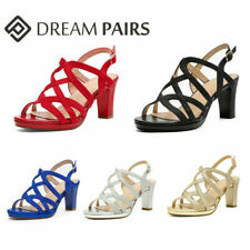 DREAM PAIRS Women's Open Toe Chunky Heel Sandals Party Dress Pump Sandals Shoes