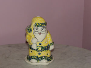 Polish Pottery Santa Tea Light! UNIKAT Signature Exclusive Miss Daisy Pattern!