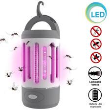 Zanzariera Elettrica Torcia LED da Campeggio Anti Zanzare Batteria Litio USB