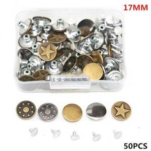 50pc/Sets Jeans Button Denim Clothes Tack Buttons Metal Replacement Craft Kit