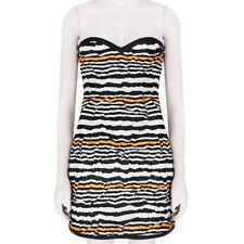 MSGM Black White Neon Orange Form Fitting Bustier Mini Dress IT38 UK6