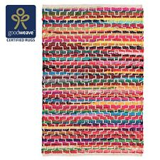 Fair Trade Chindi Rag Rug Recycled Cotton Braided Soft Mat Reversible Diamond