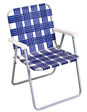 New listing Folding Chair, Aluminum & Woven Blue Webb