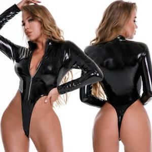 Sexy Teddy Leotard PVC Leather Zipper Bodysuit Wet Look Jumpsuit Clubwear Romper