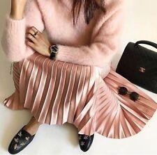 Zara Pink Pleated Midi Skirt Long Flared Size Large