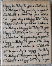 "Happy Birthday Celebrate Rubber Stamp 4½""x5¾"" Stamp Cabana Wood Mounted"