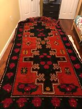 Antique Geometric Rug Hand-Made Wool Old Oriental Collectible Carpet 4 x 7 Red