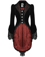 Punk Rave Tailcoat Jacket Black Red Velvet Gothic Lace VTG Victorian Riding Coat