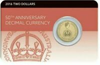 2016 $2 50TH ANNIVERSARY OF DECIMAL CURRENCY Coin on Card