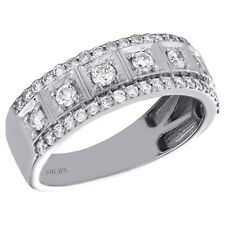 14K White Gold Round Diamond Mens Wedding Band Boxed Center Design Ring 1.03 CT.