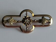 Vintage 10k Rose Gold Art Deco Style with Flowers & Diamond Ornate Brooch Pin
