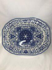 "New Spode Judaica Oval Platter 14"" Earthenware Elegant Blue Design Pattern"
